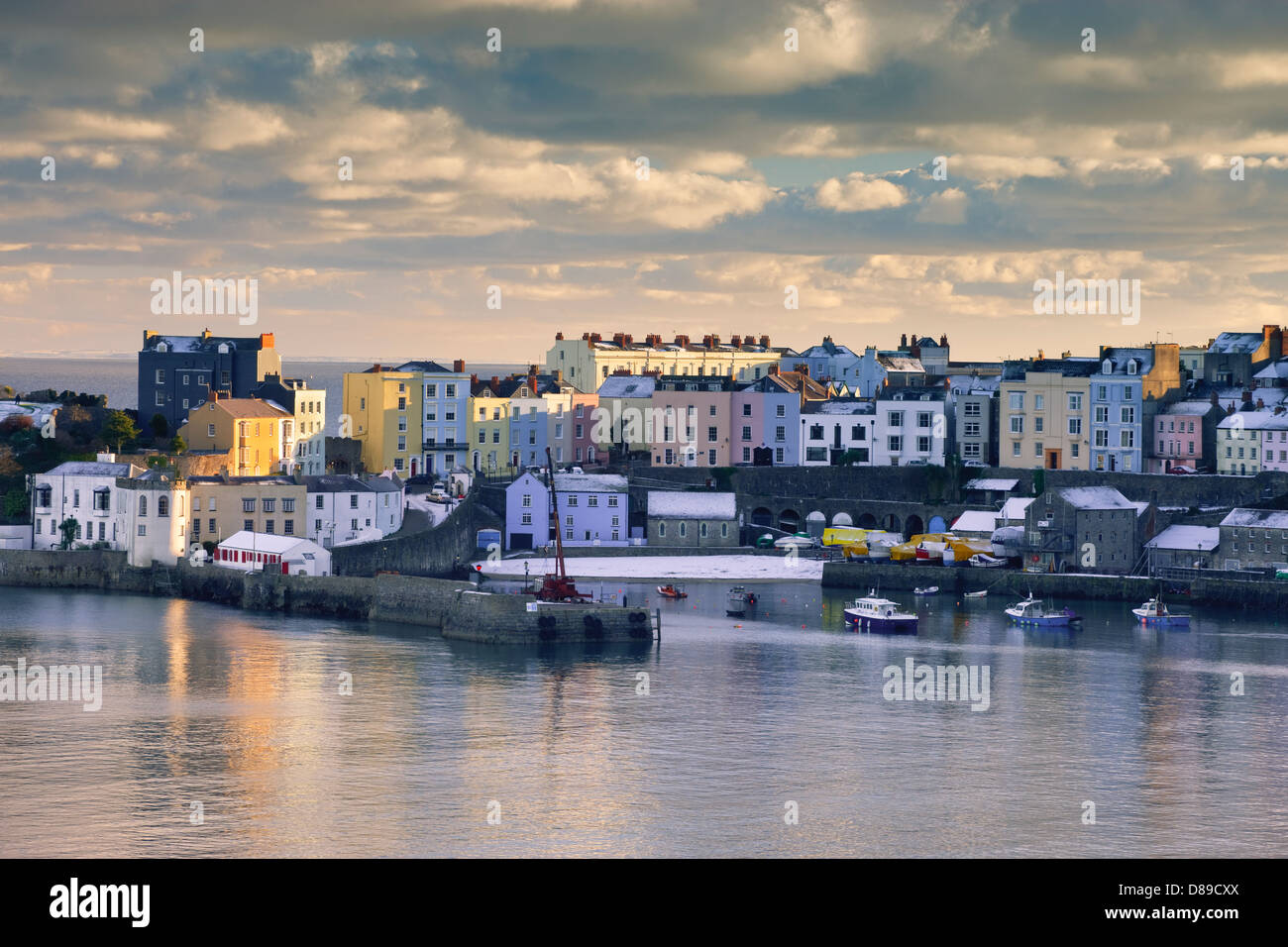 Winter snow at Tenby Harbour Tenby Pembrokeshire Wales - Stock Image