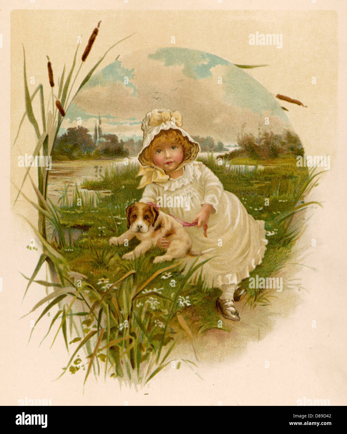 Girl And Puppy 1889 - Stock Image