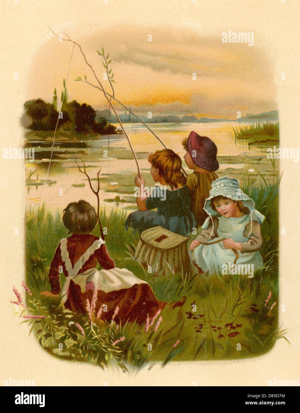 Children Fishing 1889 - Stock Image