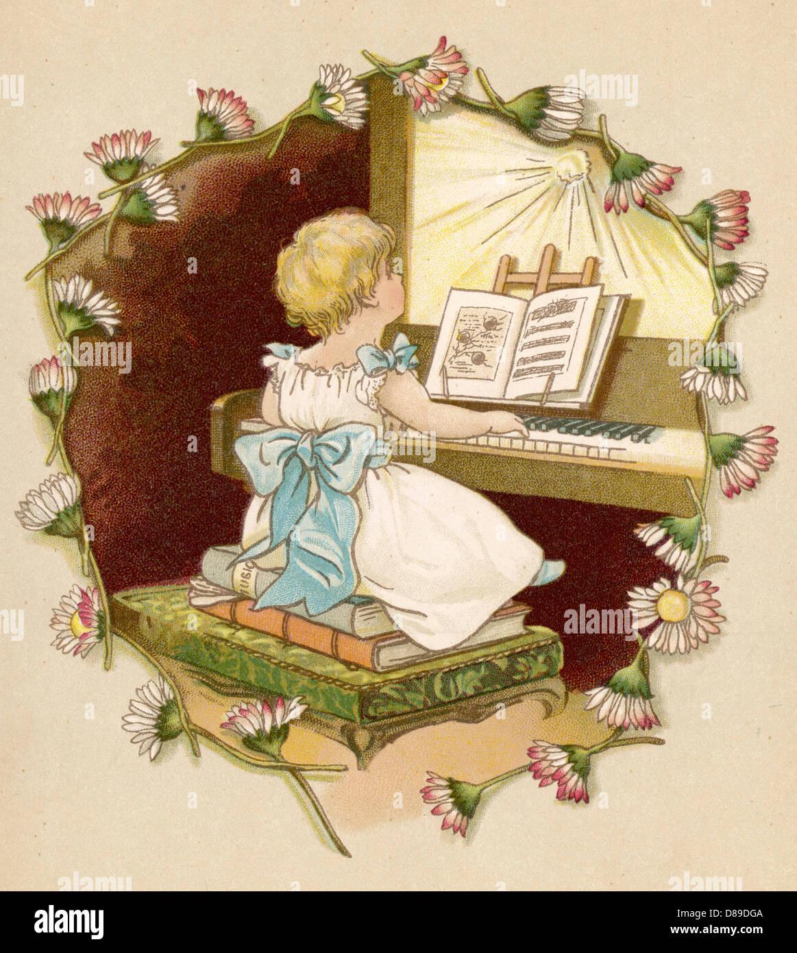 Girl At Keyboard 1886 - Stock Image