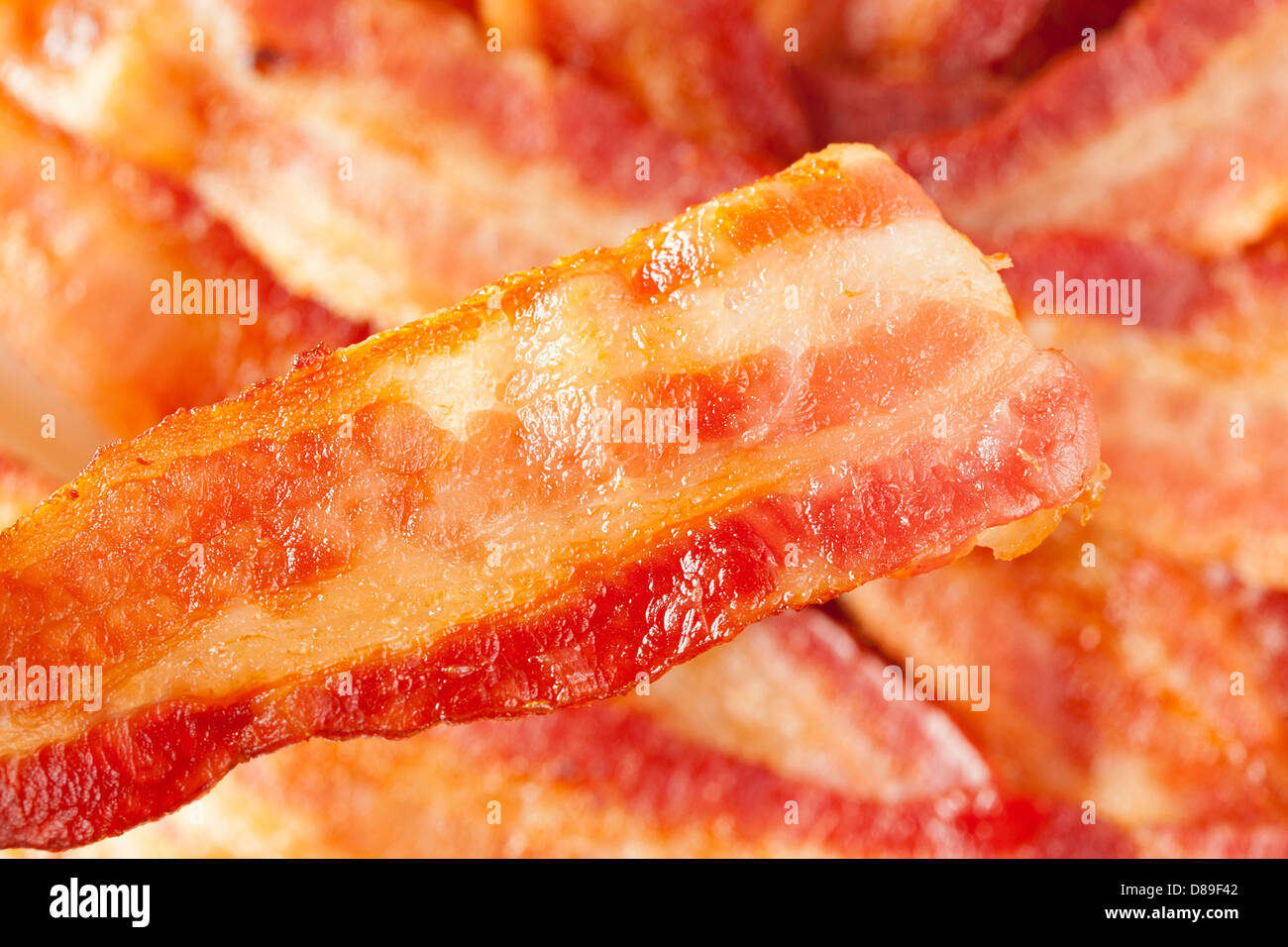 Cooked Greasy Bacon against a back ground - Stock Image