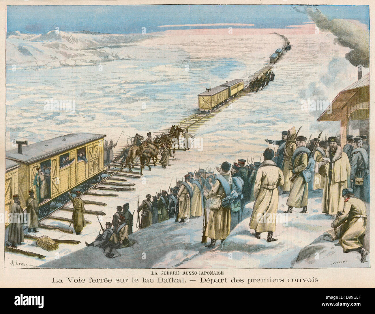Rail On Ice 1904 - Stock Image