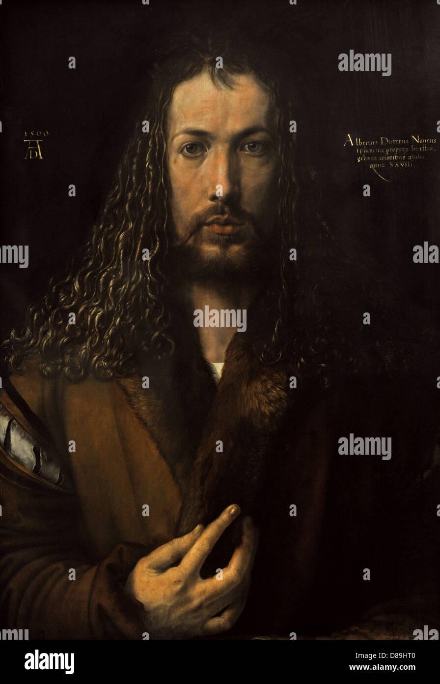 Albrecht Durer ((1471 – 1528) German painter. Self-Portrait (1500). Alte Pinakothek. Munich. Germany. - Stock Image