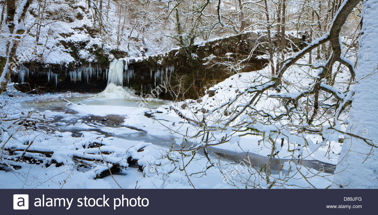 Frozen Sgwd Gwladys or lady falls with curtain of icicles Afon Pyrddin near Pontneddfechan Brecon Beacons Powys - Stock Image