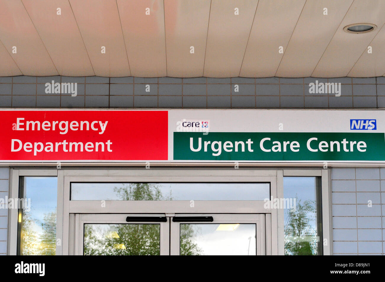 A sign of an emergency department in Middlesex hospital, London, UK - Stock Image