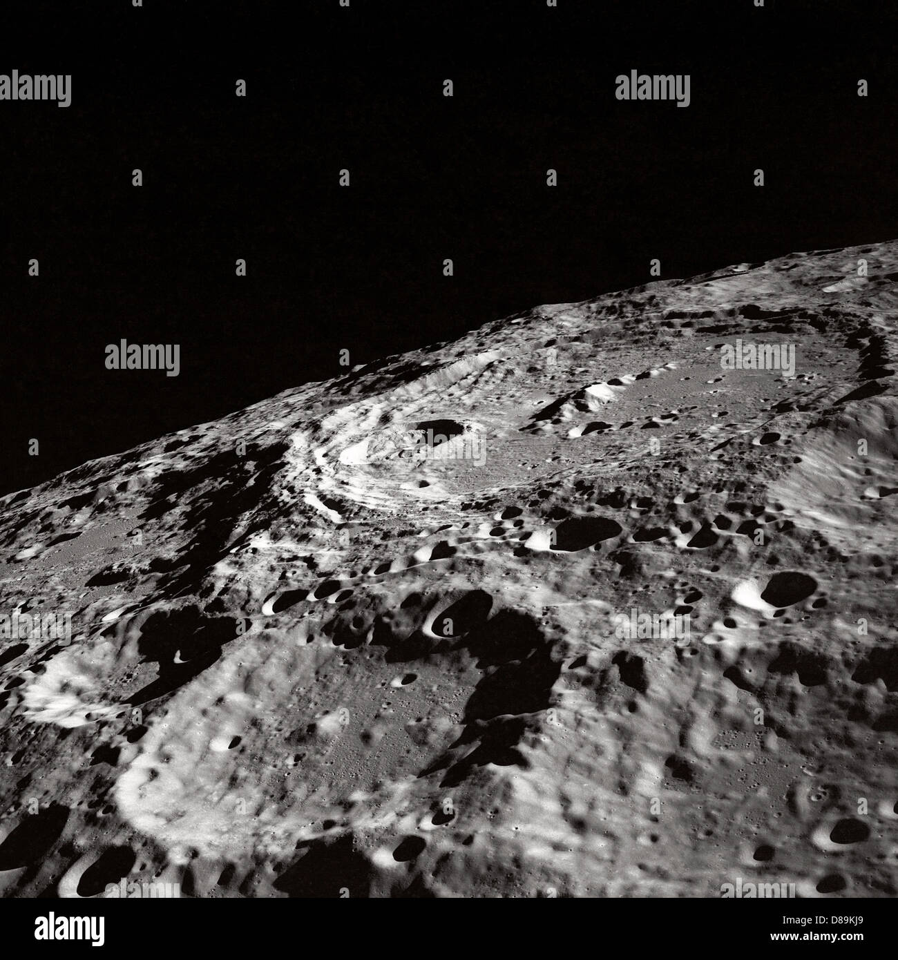 Craters On Lunar Surface - Stock Image