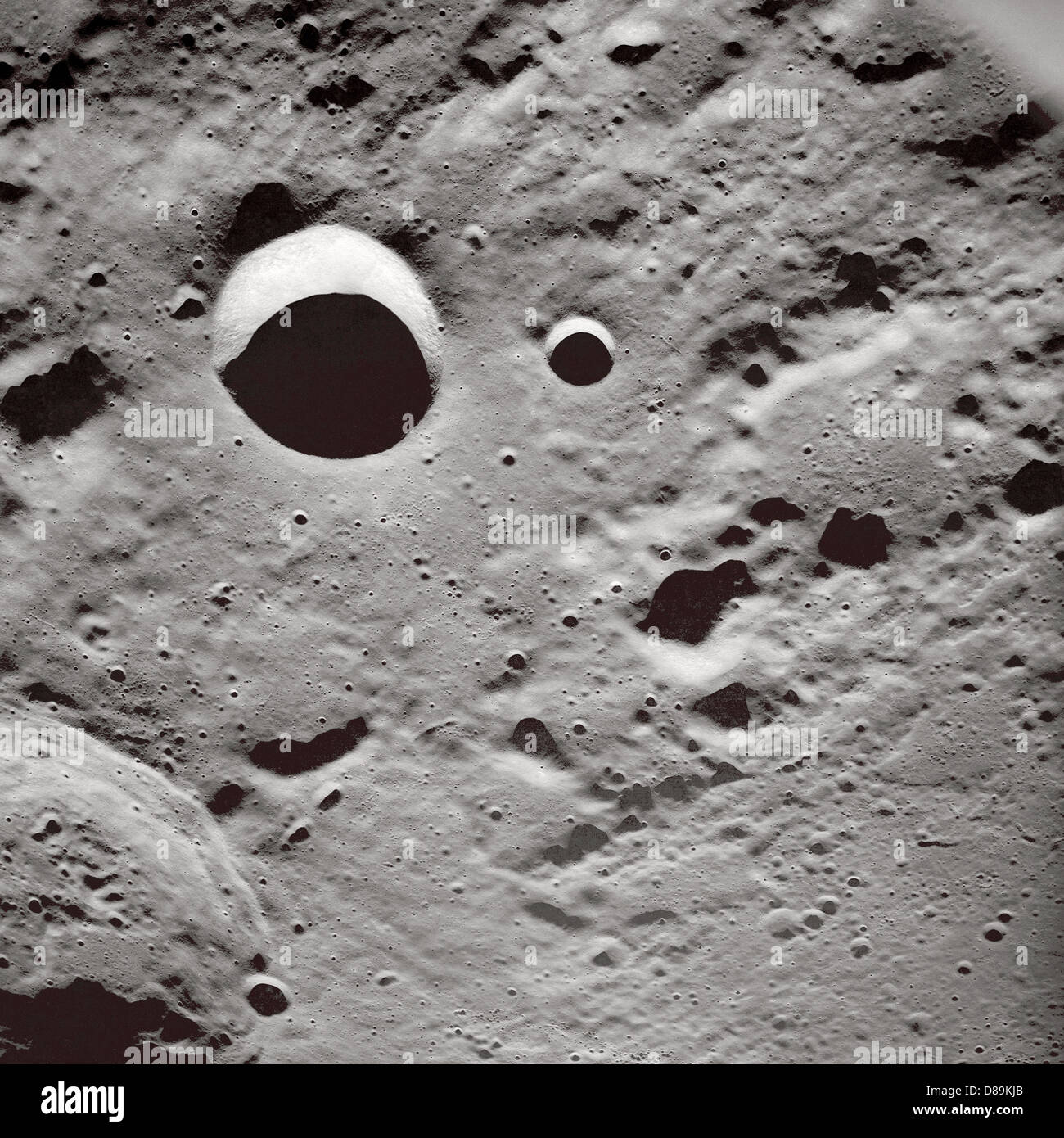 Shadows On Lunar Surface - Stock Image