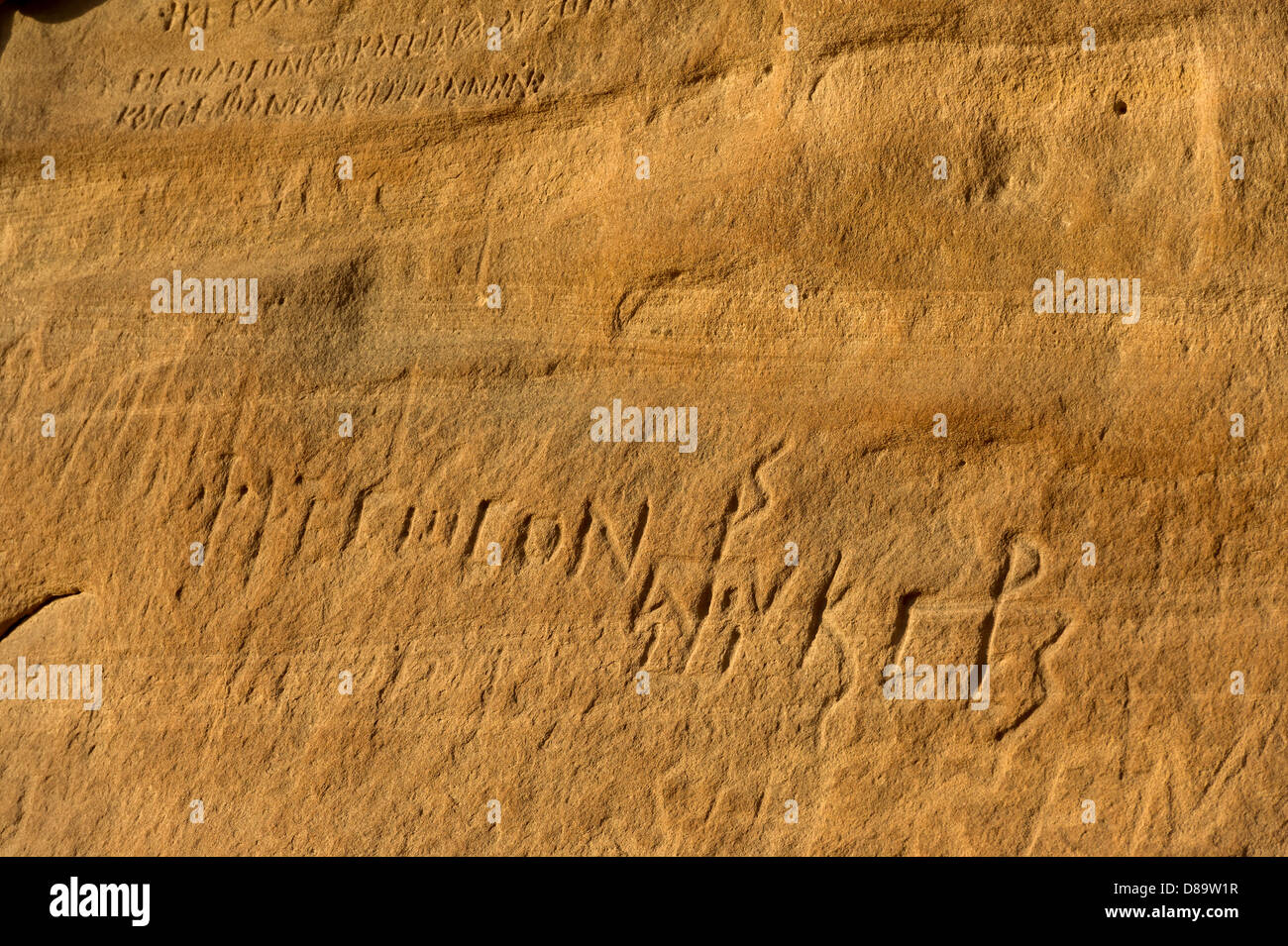 EGYPT sinai desert rock mountain sand drawing signs pictures granite rock art bedouin Saint Catherine road  rare - Stock Image