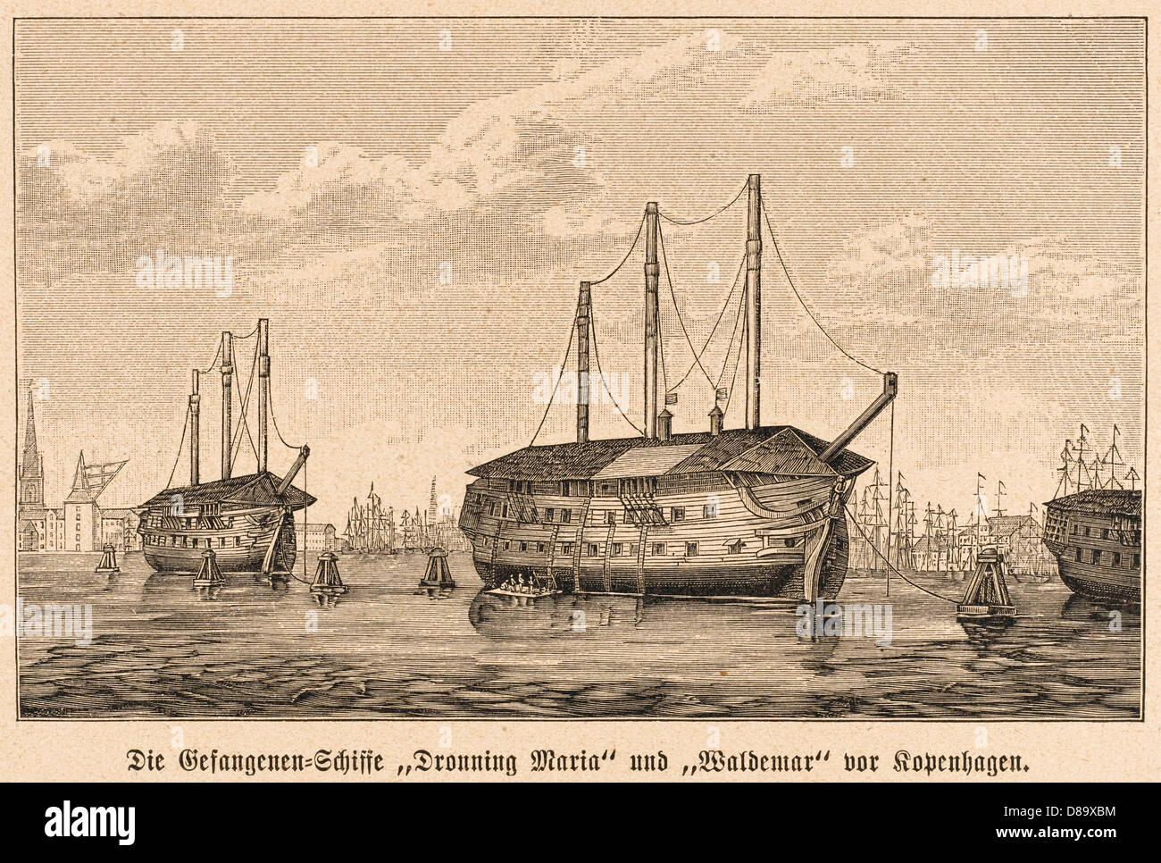 Danish Prison Ships - Stock Image