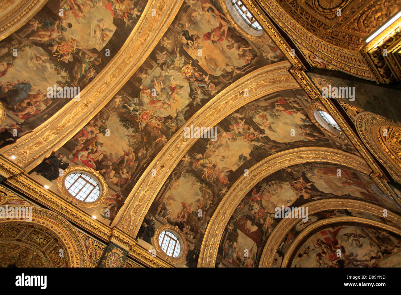 Malta, Valletta, St John's Co-Cathedral, interior, - Stock Image
