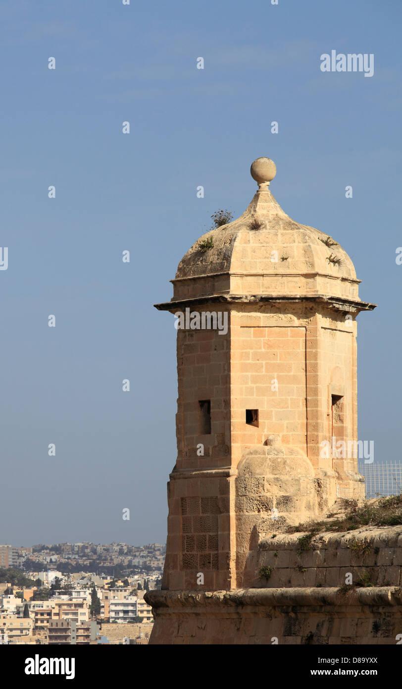 Malta, Valletta, city wall, bastion, - Stock Image