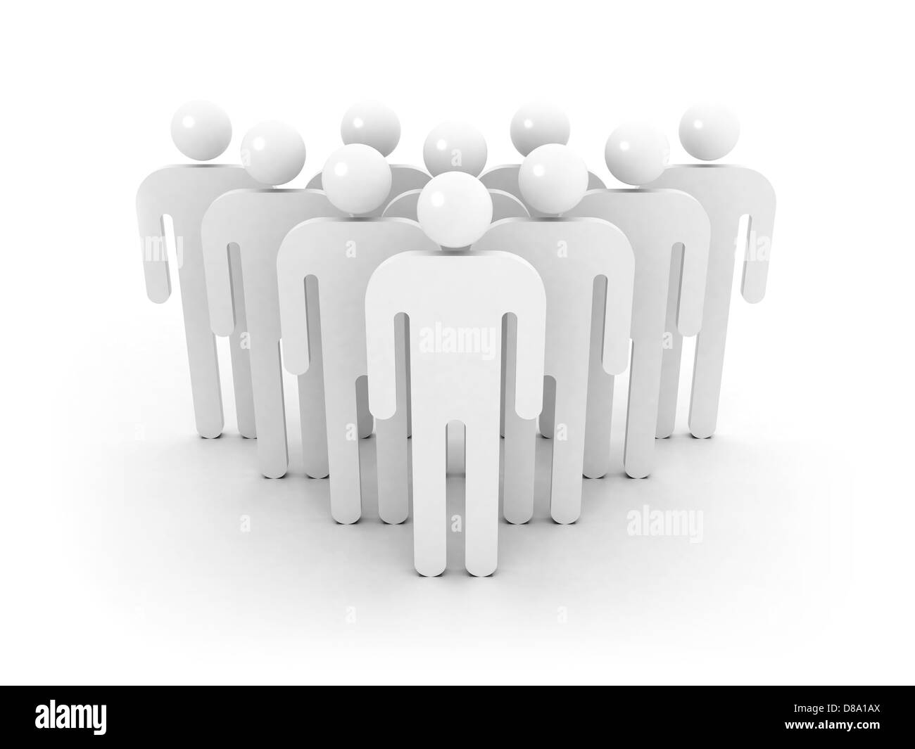 Group of schematic people is ordered wedge on white background with soft shadow. 3d illustration concept - Stock Image