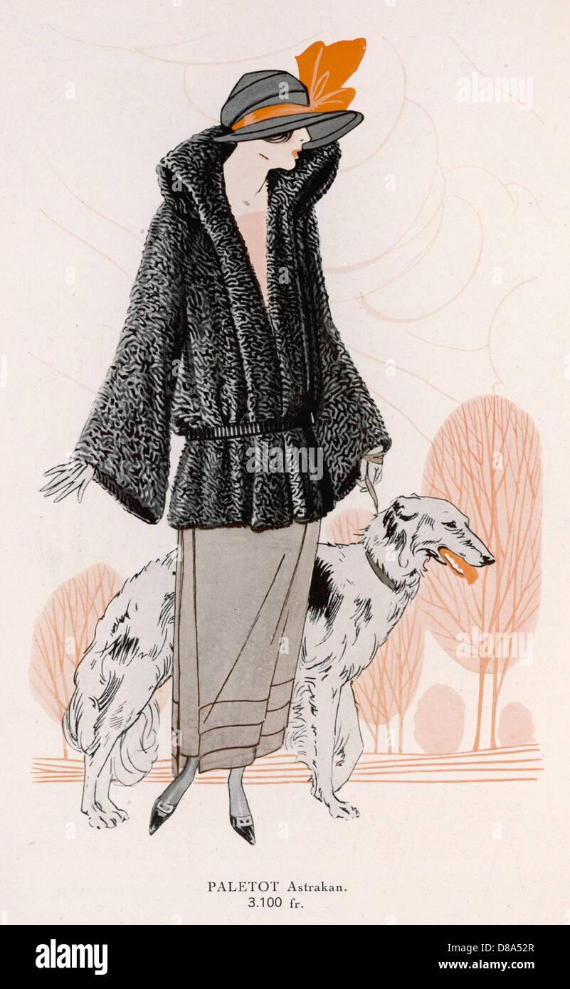 Lady With Borzoi - Stock Image