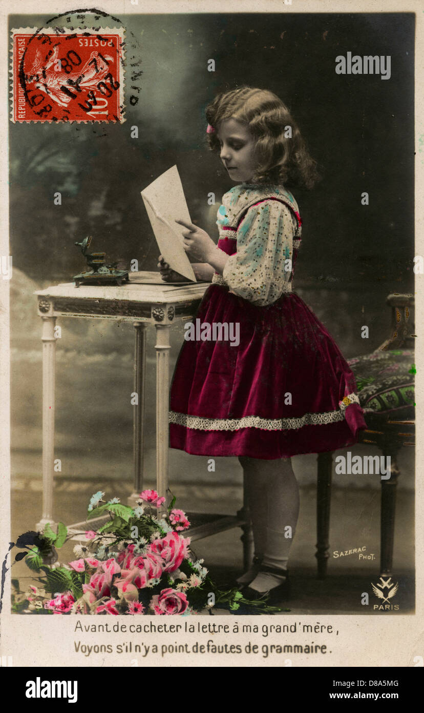 Little Girl Writes A Letter To Her Granny - Stock Image