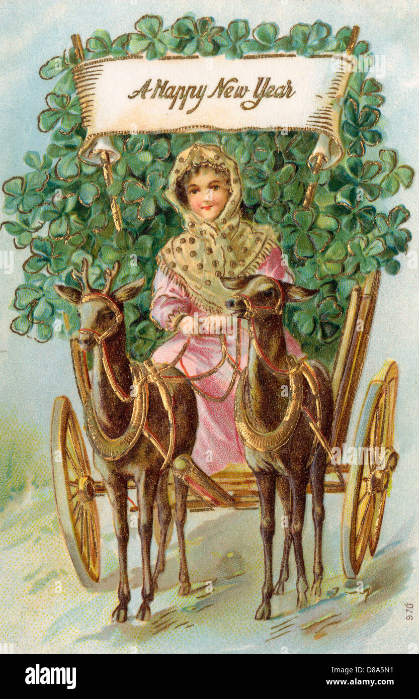 new year clover cart stock image