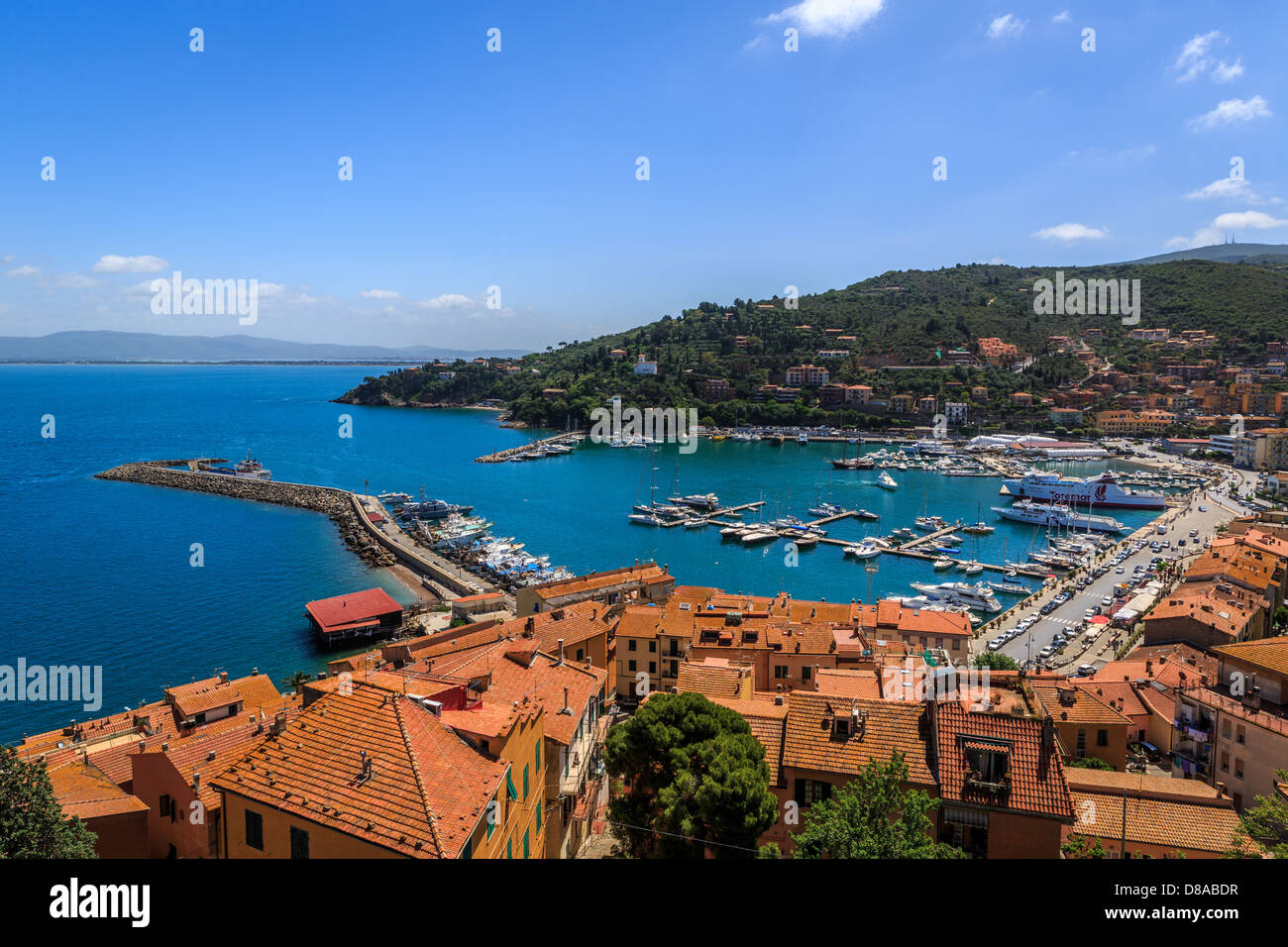 View of the sea front of Porto Santo Stefano, Monte Argentario, Maremma, Grosseto Province, Tuscany, Italy - Stock Image