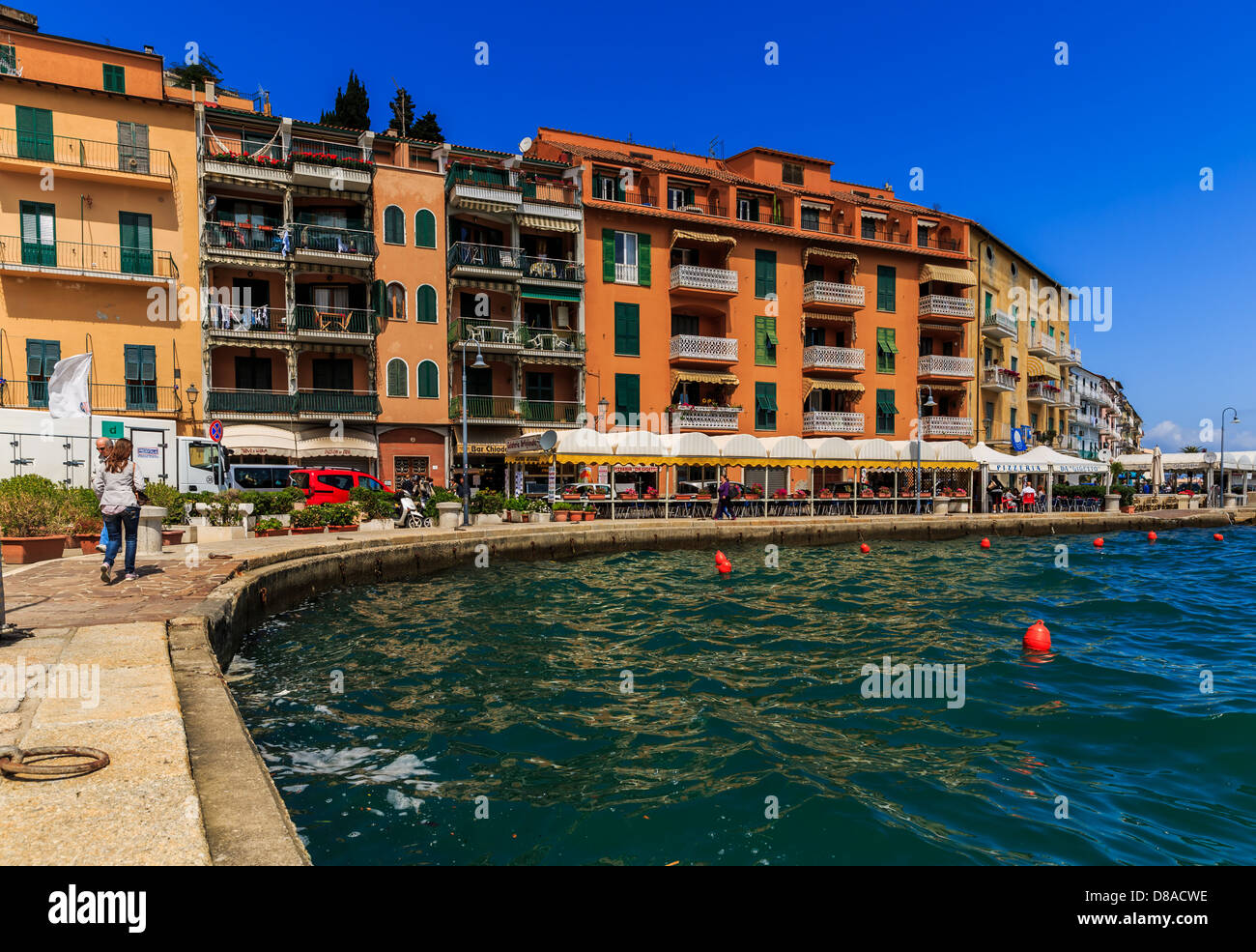 Harbor front in Porto Santo Stefano, Monte Argentario, Maremma, Grosseto Province, Tuscany, Italy - Stock Image