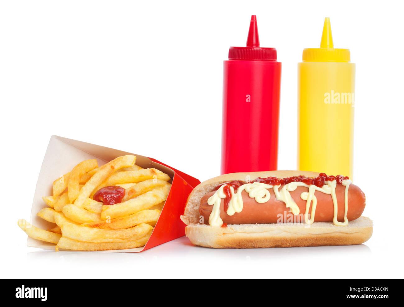 Fresh and tasty hot dog with fried potatoes on white - Stock Image