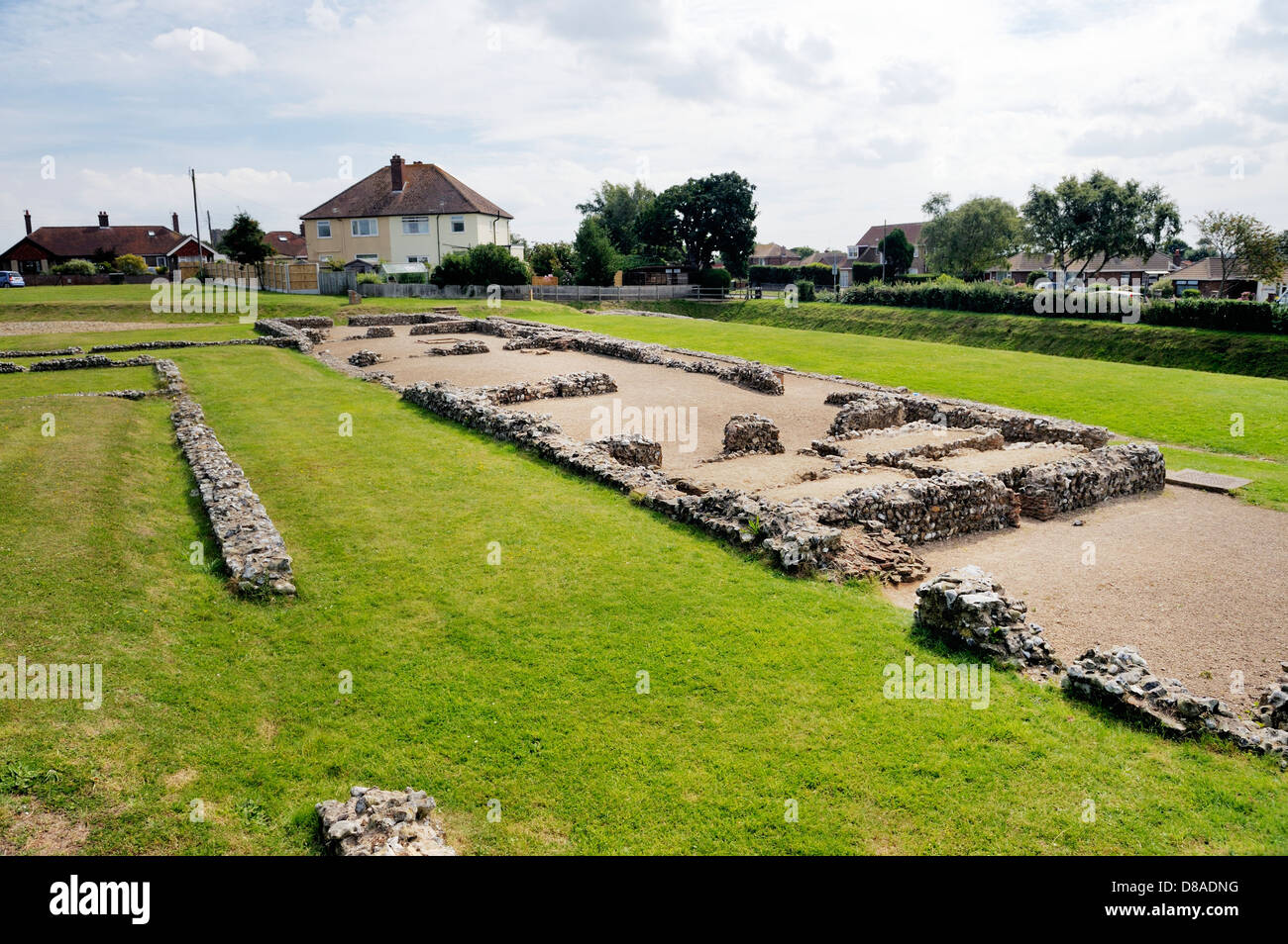 Caister Roman fort in Caister-on-Sea, Norfolk, England. Built around AD 200. A house, Building 1, including hypocaust Stock Photo