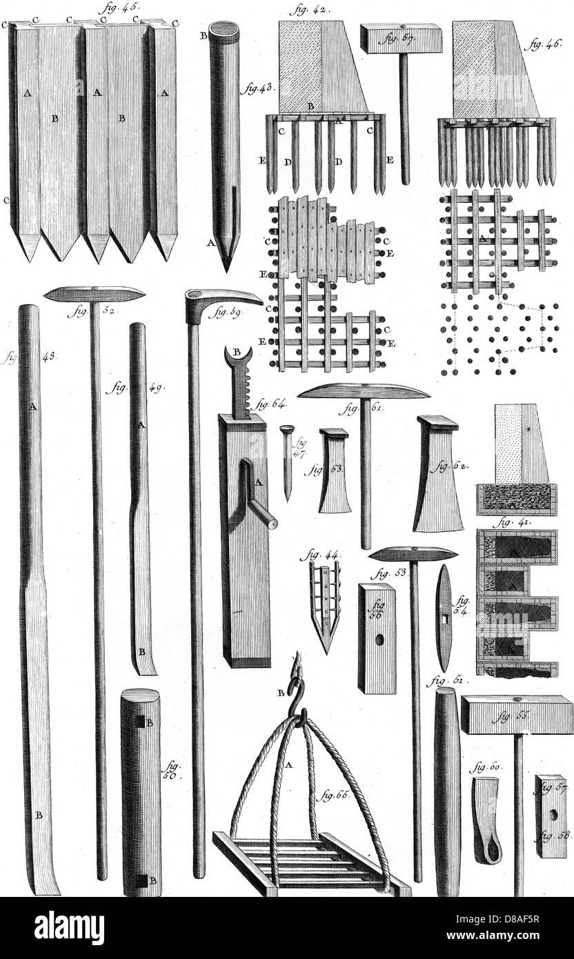 Quarrymans Tools 18th C - Stock Image