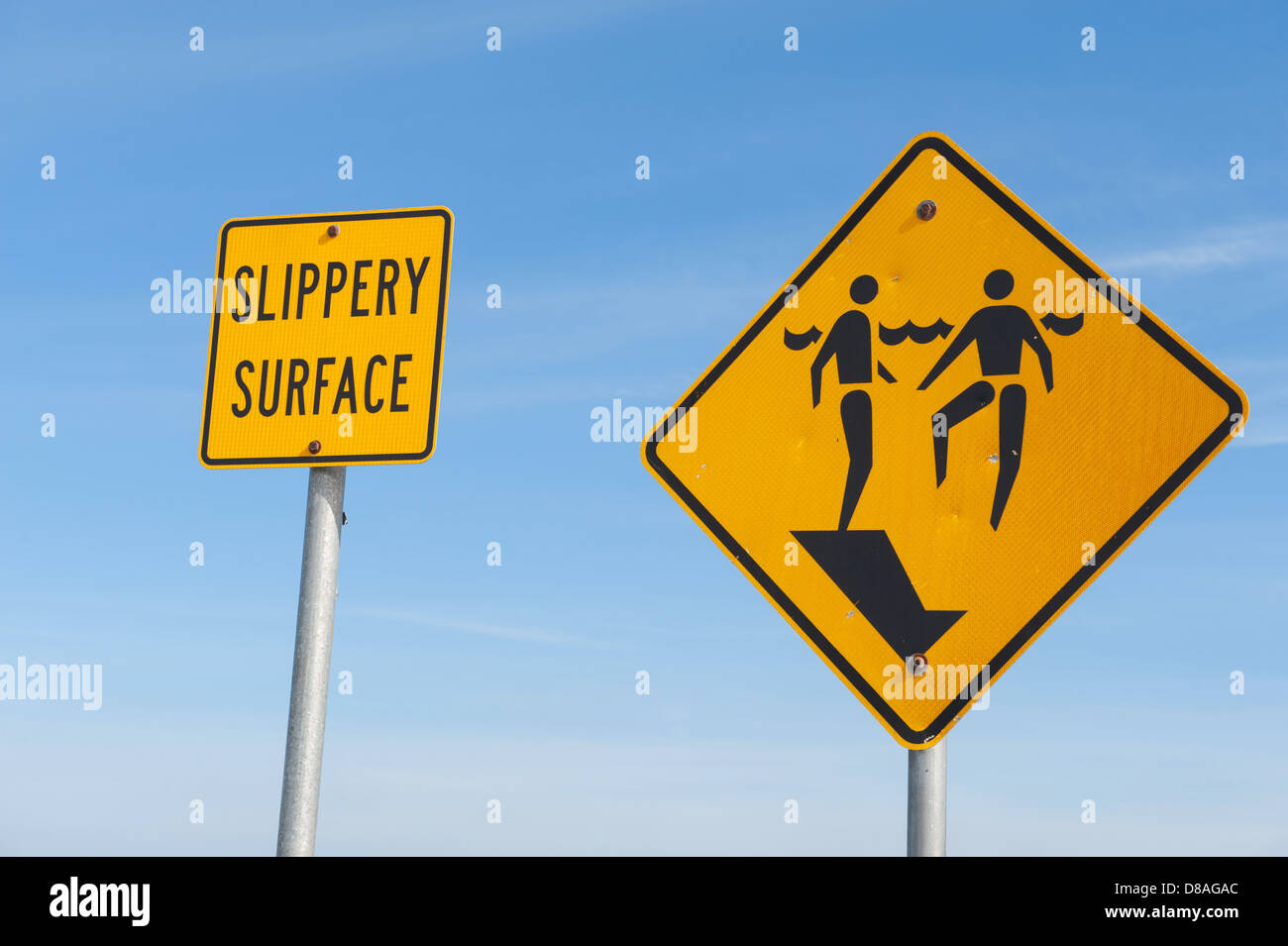 Signs warning of a slippery surface and sudden drop off - Stock Image