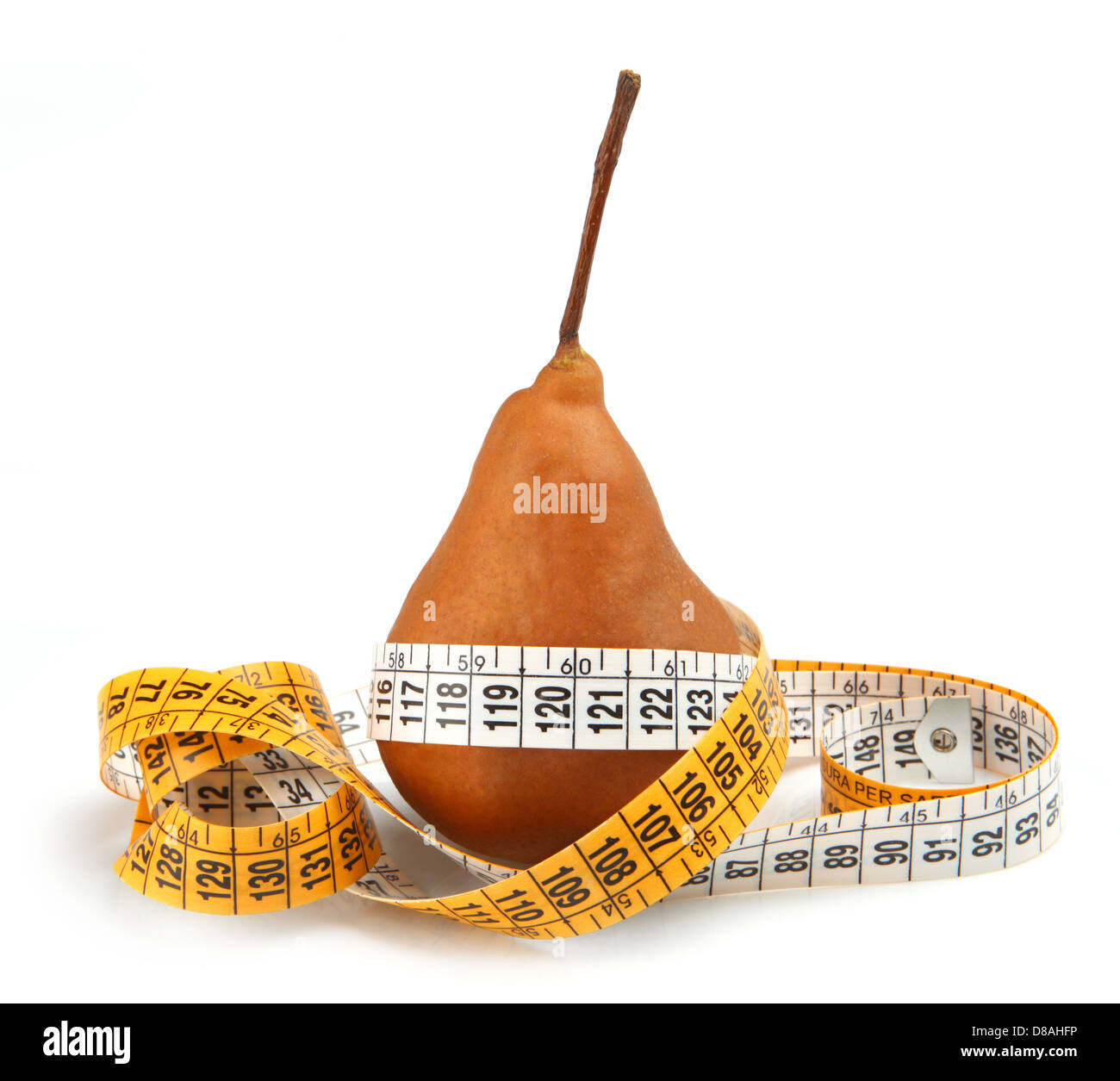 Pear measured the meter isolated on white - Stock Image