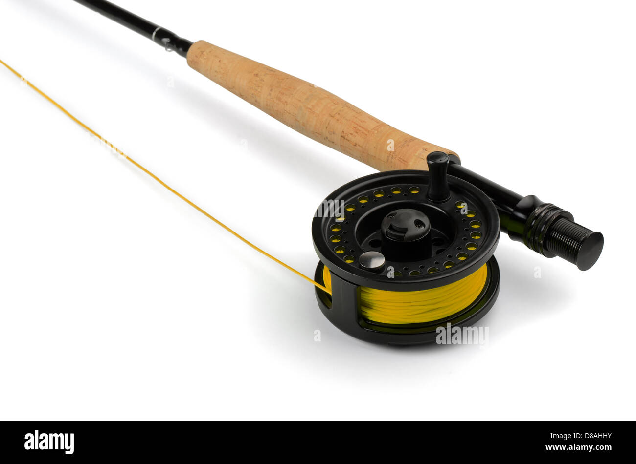 Close up of fly fishing rod and reel isolated on white - Stock Image