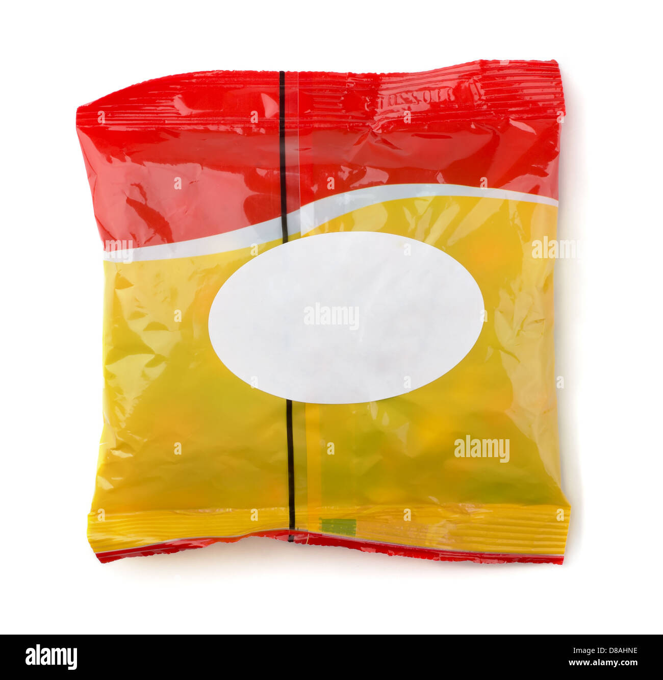 Red and yellow food packet with white label isolated on white - Stock Image