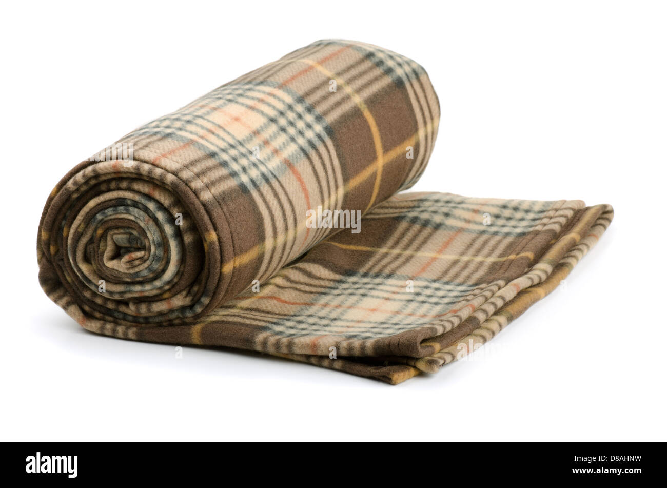 Rolled plaid wool blanket isolated on white - Stock Image