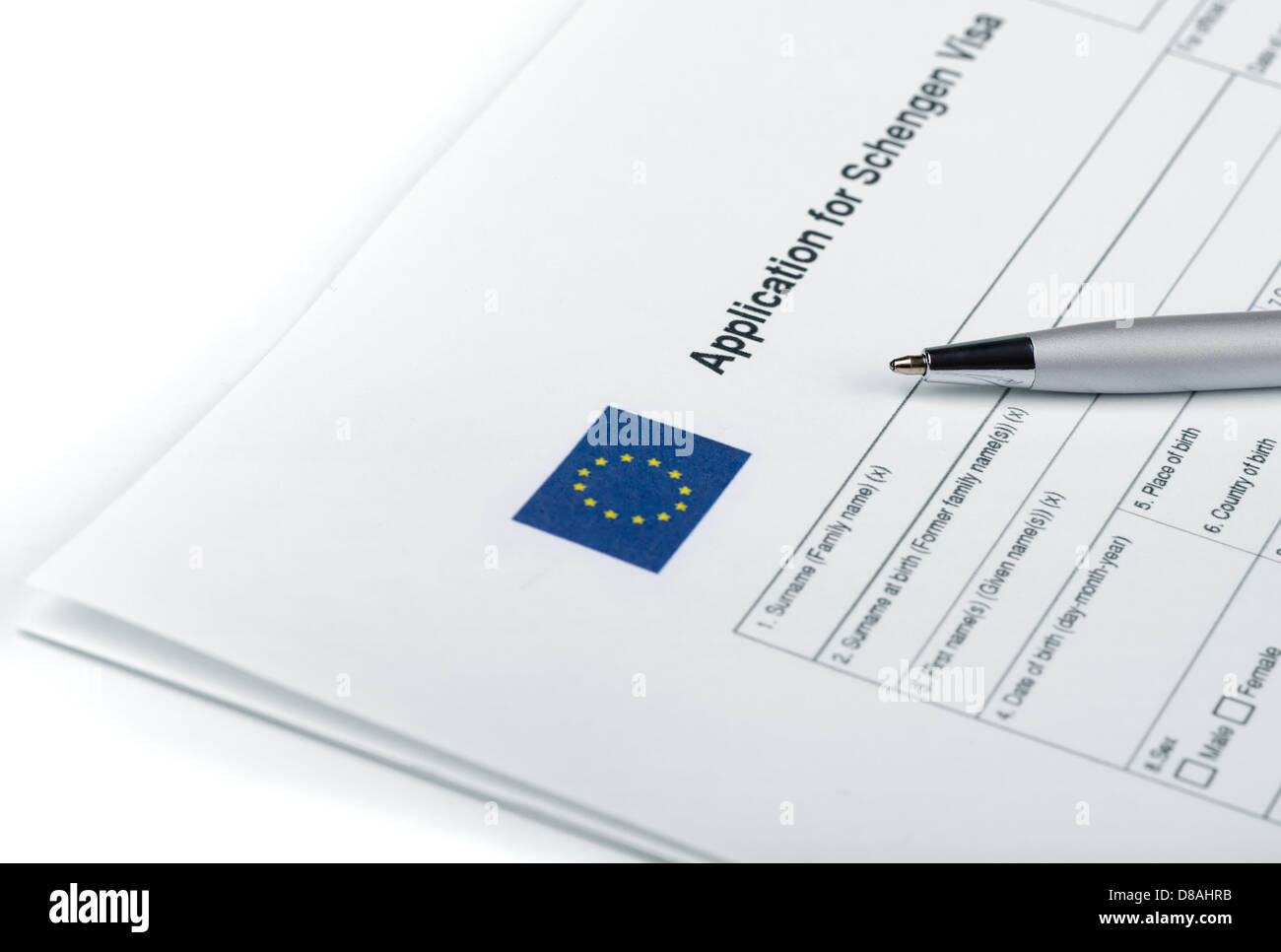 Blank applicatoin for Schengen Visa and pen - Stock Image