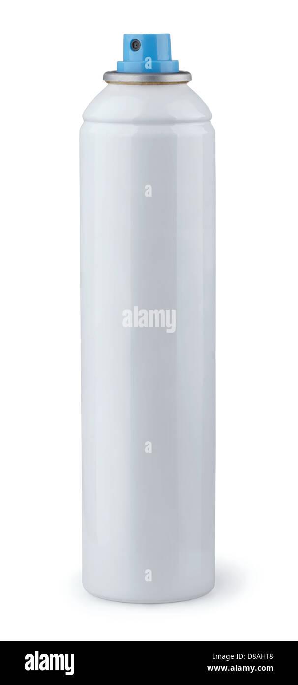 White aerosol spray can isolated on white - Stock Image