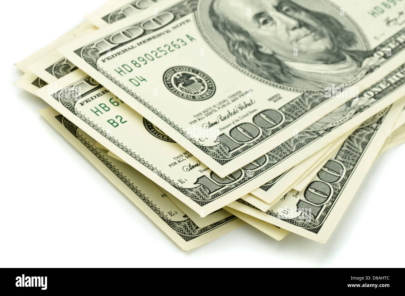 Close up of stack one hundred dollar bills - Stock Image