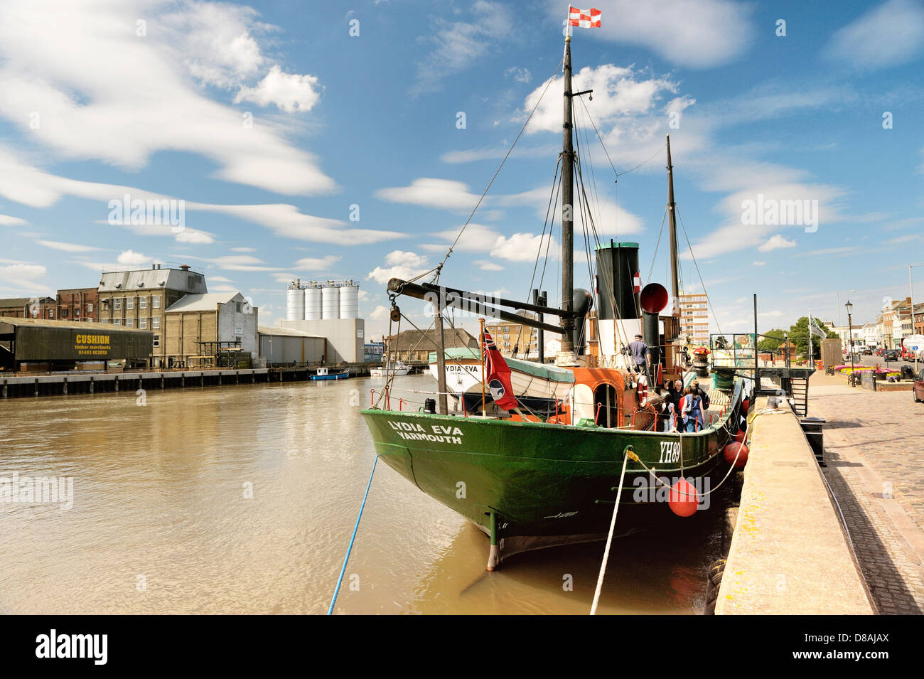 River Yare at South Quay, Great Yarmouth, England. Vintage steam drifter herring boat Lydia Eva built 1930. Waveney - Stock Image