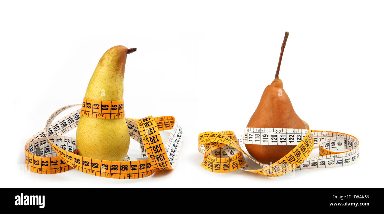 Pears measured the meter isolated on white - Stock Image