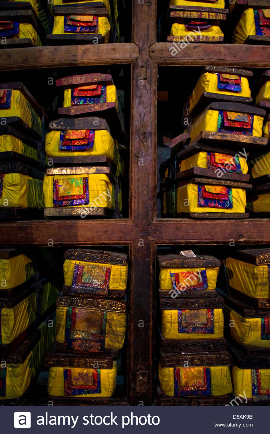Ancient scriptures in Library of Palcho Monastery, Gyantse, Tibet - Stock Image