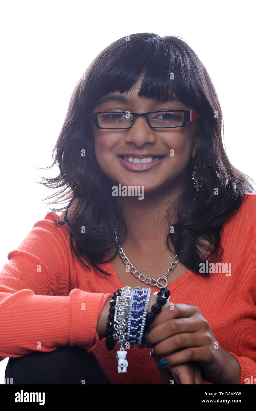 young indian girl wearing glasses stock photos young indian girl