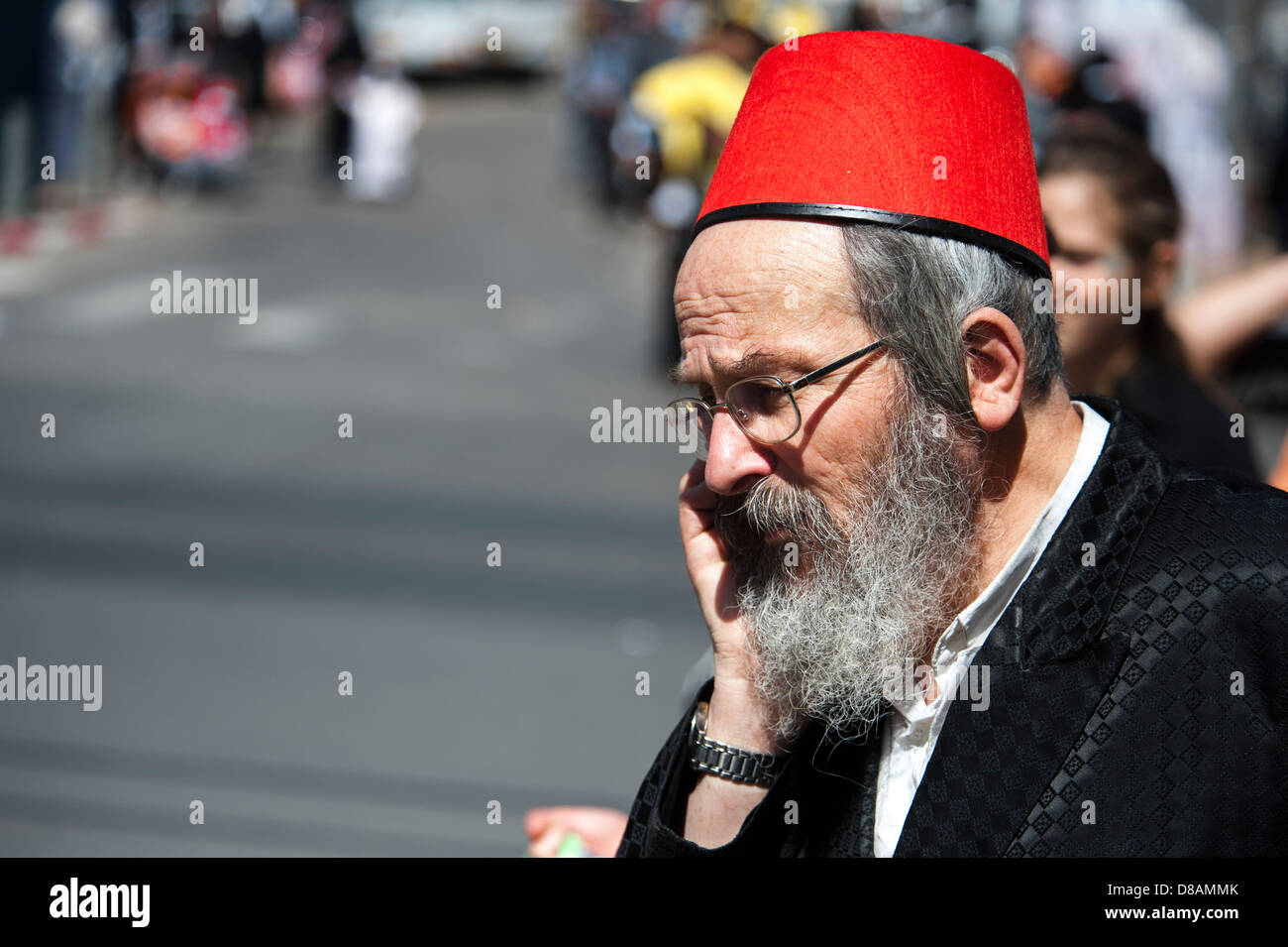 Orthodox man in Purim costume Photographed in Bnei Brak, Israel - Stock Image