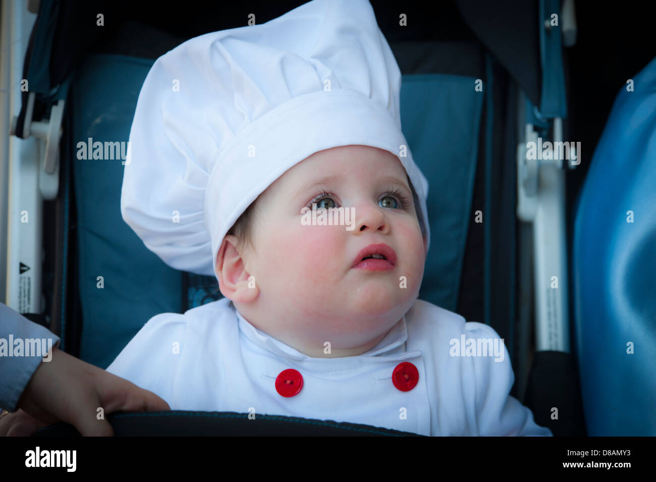 Baby in Purim costume Photographed in Bnei Brak, Israel - Stock Image