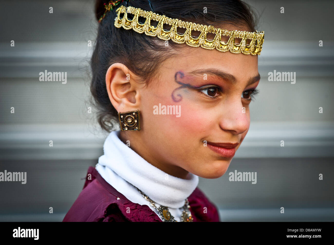 A young orthodox girl in Purim costume Photographed in Bnei Brak, Israel - Stock Image