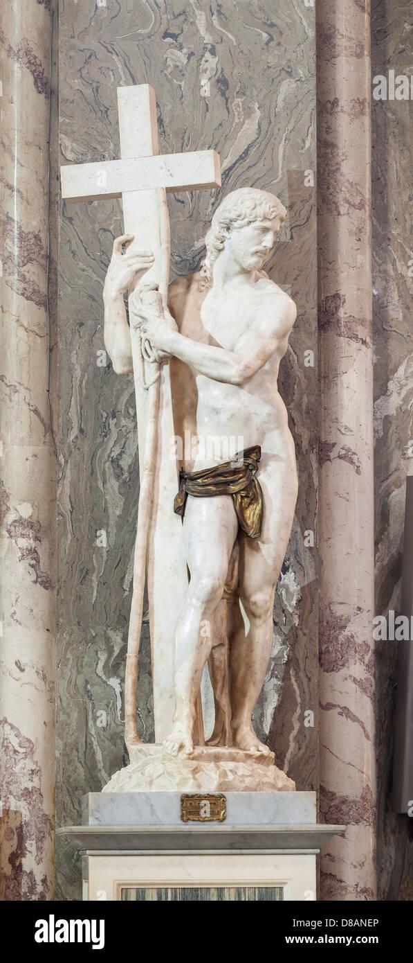 Michelangelo, statue of Christ the Redeemer in the basilica of Saint Mary above Minerva, Santa Maria sopra Minerva, Stock Photo