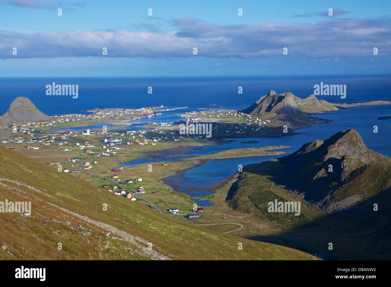 Picturesque fishing port of Sorland on Lofoten islands in Norway during sunny summer day - Stock Image