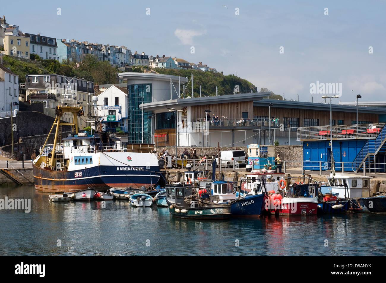 Fishtown,Brixham,beach, dock, boating, docking, boat, lake, fishing, old, rowboat, rowing, row, water, coast, shore, - Stock Image