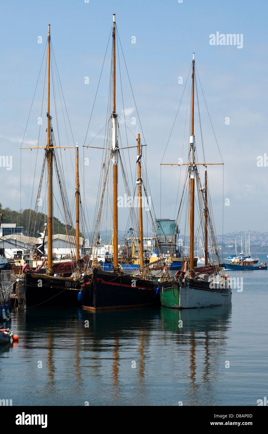 Brixham,Fishtown,Brixham,beach, dock, boating, docking, boat, lake, fishing, old, rowboat, rowing, row, water, coast, - Stock Image