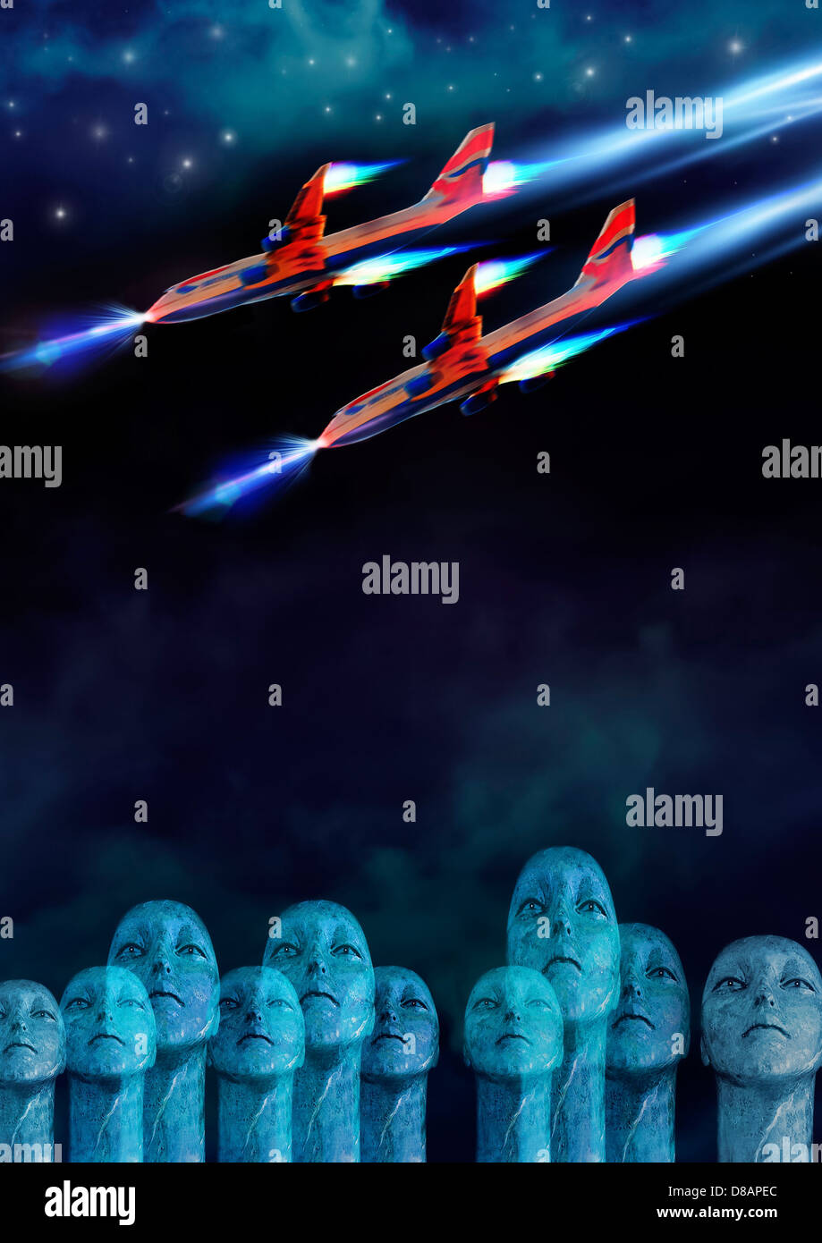 crowd of aliens looking up at fighter planes in night sky - Stock Image