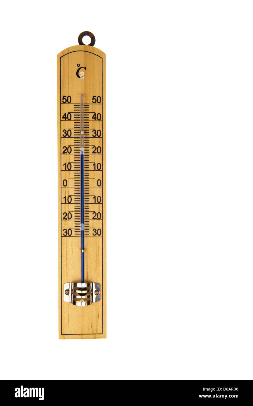 Conventional blue Mercury room thermometer in Celsius scale, isolated in white background - Stock Image