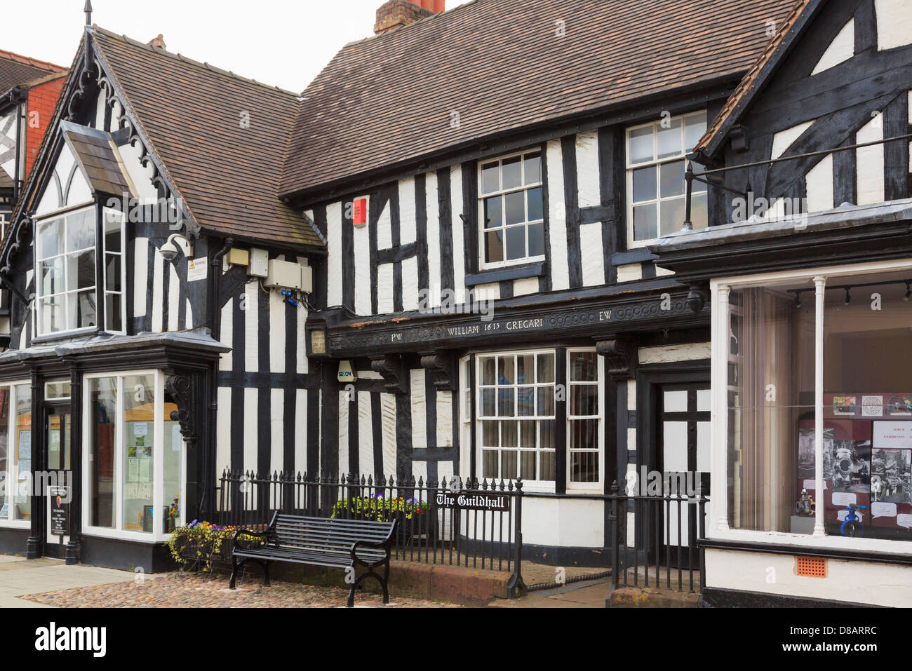 17th century Guildhall circa 1615 timbered building housing the Town Council in Newport, Shropshire, West Midlands, - Stock Image