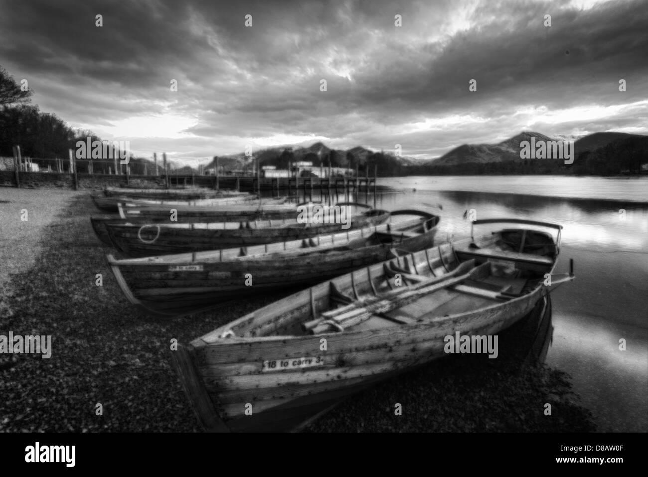 rowing boats,keswick,lake district,cumbria,england,uk - Stock Image