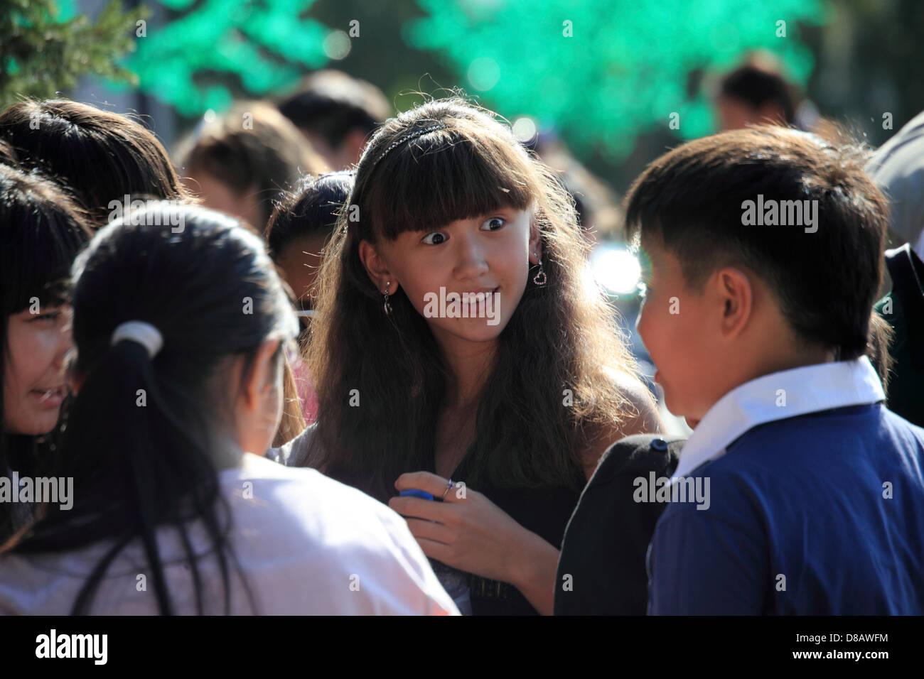 Astana - meeting of teen-agers - Stock Image