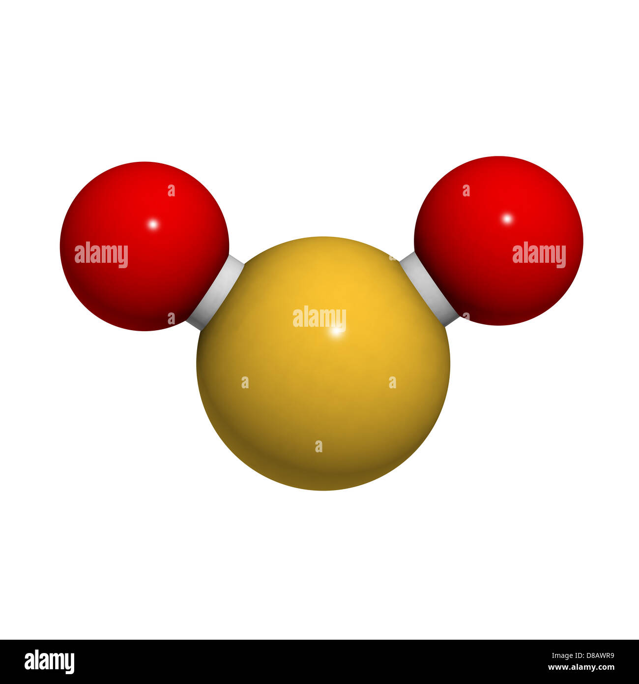 Sulfur dioxide (sulphur dioxide, SO2) gas, molecular model. SO2 (E220) is also used in winemaking. - Stock Image