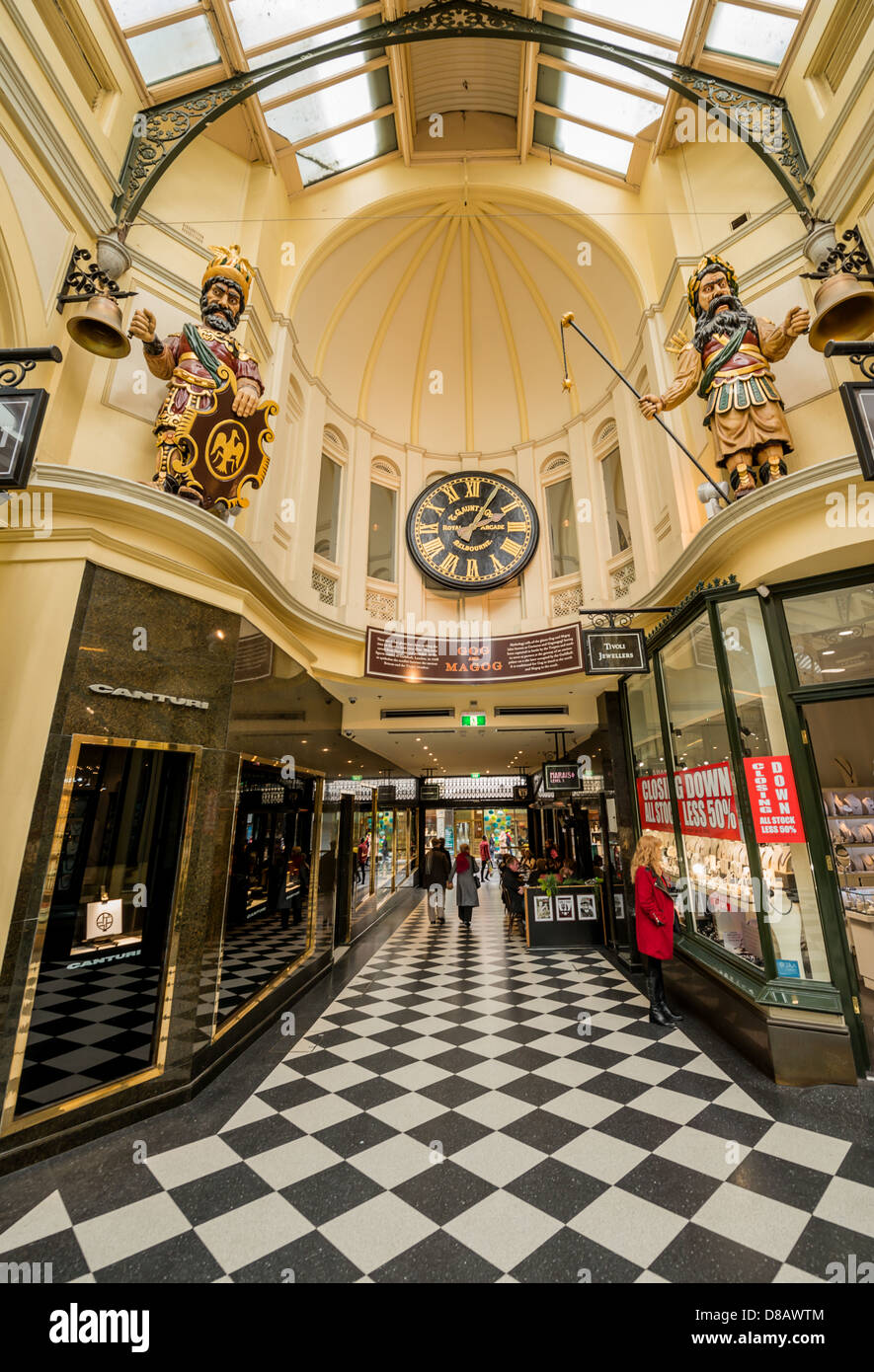 The ornate Royal Arcade in downtown Melbourne Australia. - Stock Image